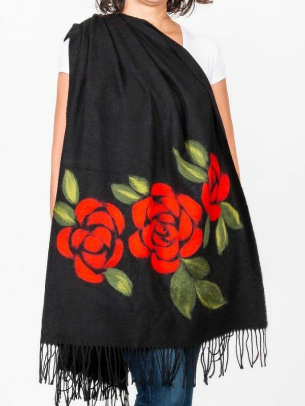 Rose Keçe Şal ( kırmızı)
