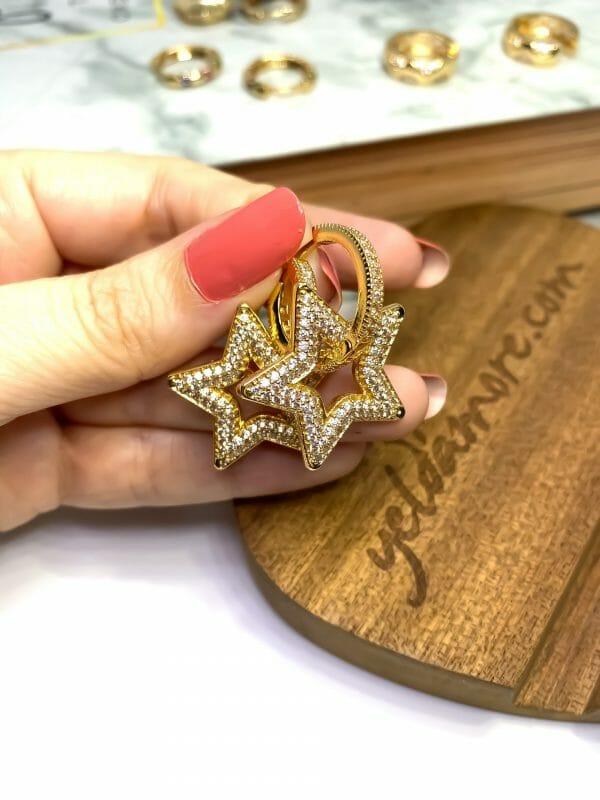 Çelik Zirkon Taş Yıldız Küpe (Beyaz)