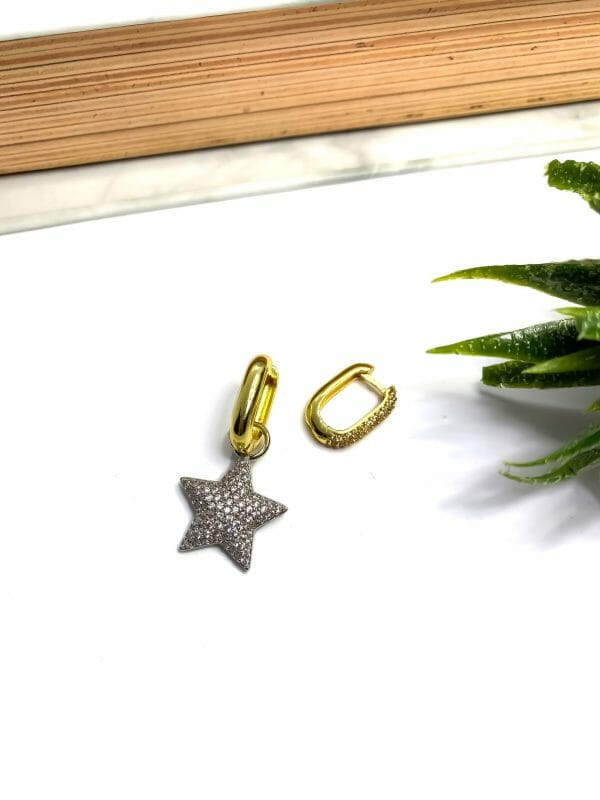 Çelik Zirkon Yıldız Küpe (Beyaz Altın Kapalama yıldız)