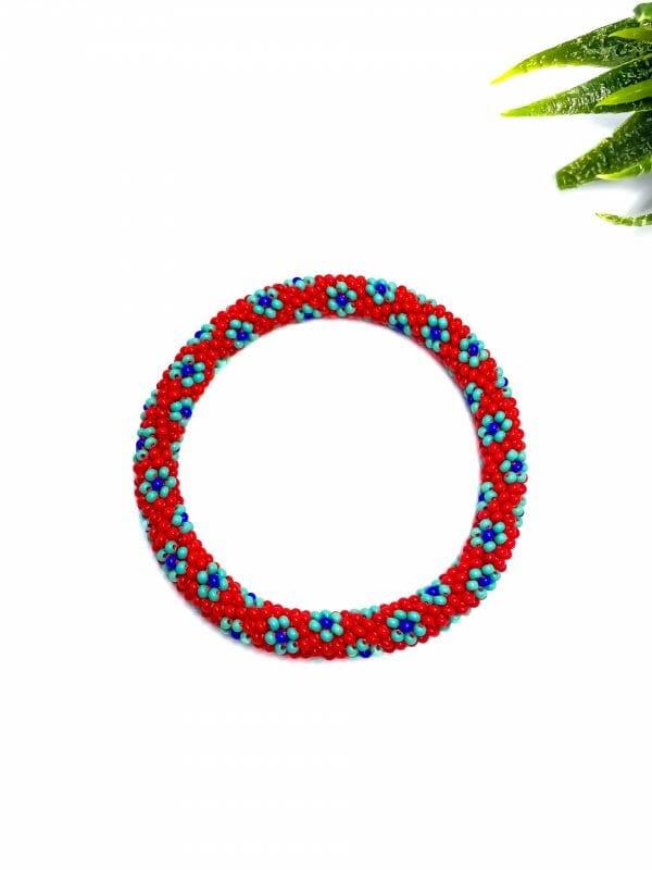 Mini Çiçek Bohem Bileklik (kırmızı )