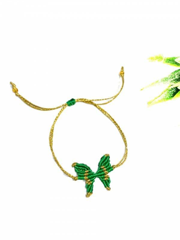 Makrome Kelebek Bileklik (yeşil)