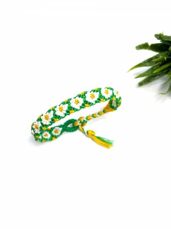 Makrome Papatya Bileklik (yeşil)