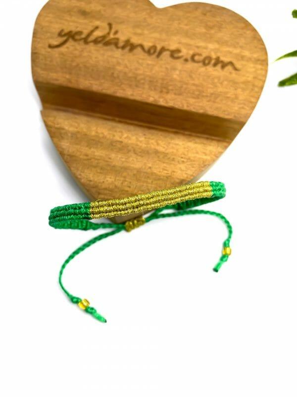 Makrome Gold Detay Bileklik (yeşil)
