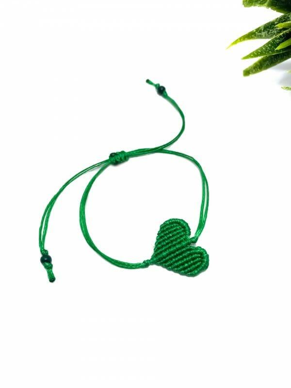 Makrome Kalp Bileklik (Yeşil)