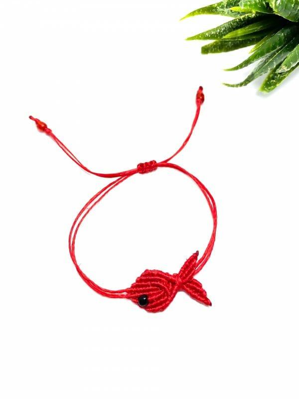Makrome Balık Bileklik (Kırmızı)