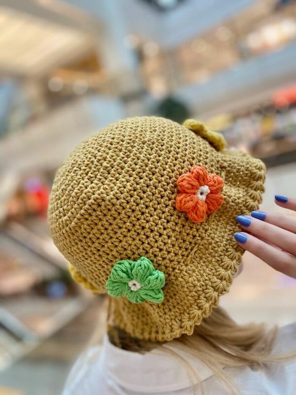 Flower Örgü Şapka (Gold Renkli )