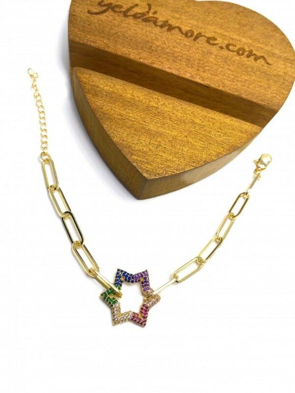 Zirkon Yıldız Çelik Bileklik (Renkli)