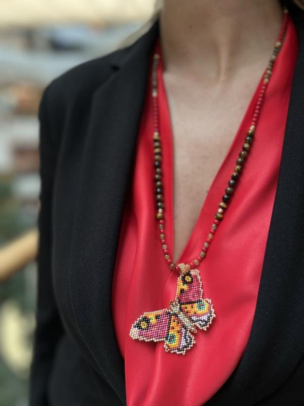 Papillon Doğal Taş Miyuki Kolye