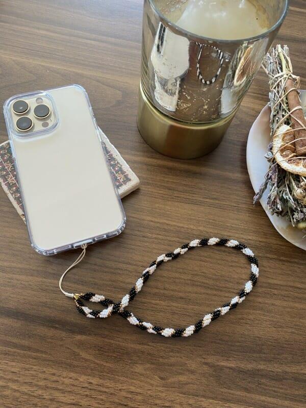 Elegant Telefon Askısı (Siyah-Beyaz-Gold)
